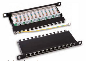 "HY0412R 1 O"" O.5U shielded 12 ports patch panel."