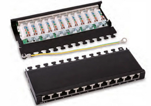 HY0412 O.5U shielded 12 ports patch panel{Desktop) □